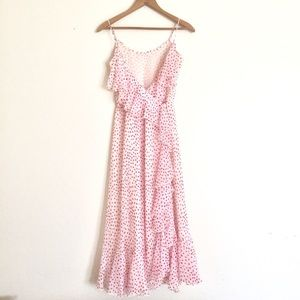 Vintage | Red & White Dotted Chiffon Dress